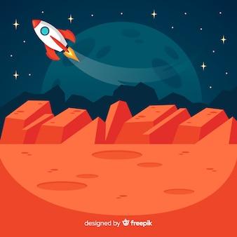 Paisagem marciana com naves espaciais