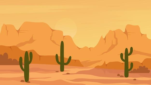 Paisagem mexicana do deserto do texas ou arisona Vetor Premium