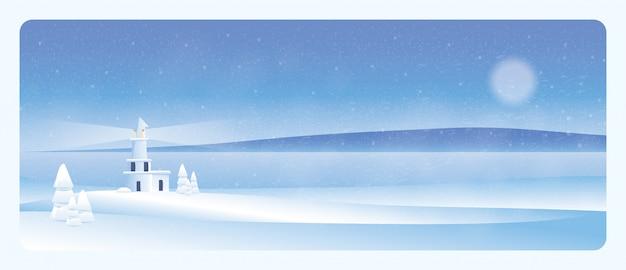 Paisagem mínima do inverno farol no inverno com abeto de neve