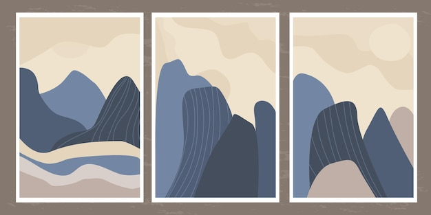 Paisagem minimalista de montanhas e rochas com linhas abstratas em um estilo simples
