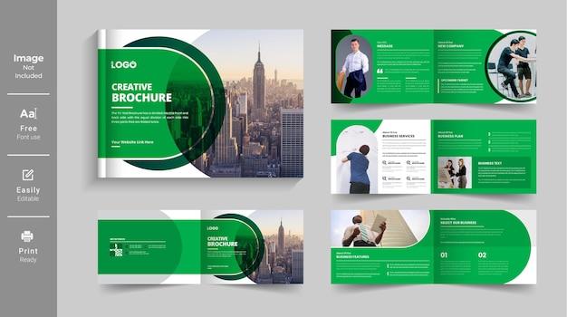 Paisagem modelo de design de brochura de perfil de empresa ou brochura de várias páginas com formato de cor verde