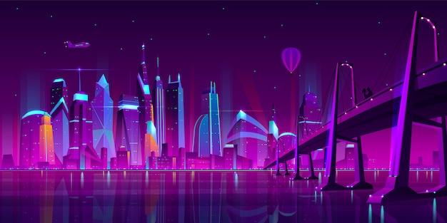 Paisagem moderna da noite do vetor dos desenhos animados da cidade.