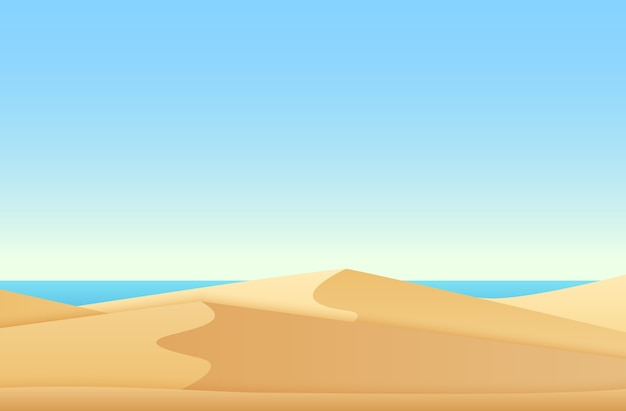 Paisagem moderna de gradiente suave e plana com praia de deserto e oceano