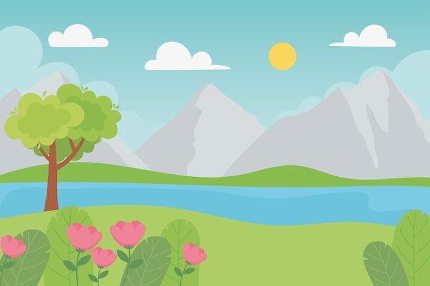 Paisagem, montanhas rochosas, árvores, flores, folhas, folhagem, grama