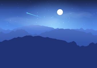 Paisagem montanhosa à noite