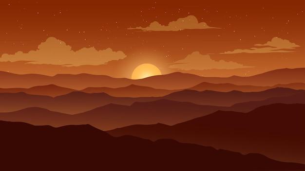 Paisagem montanhosa ao pôr do sol com nuvens