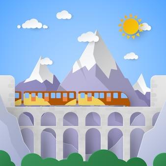Paisagem montanhosa com aqueduto e ferrovia
