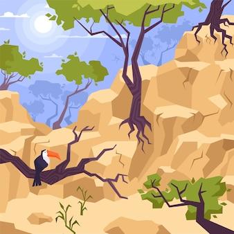 Paisagem montanhosa com árvores, pedras e tucano