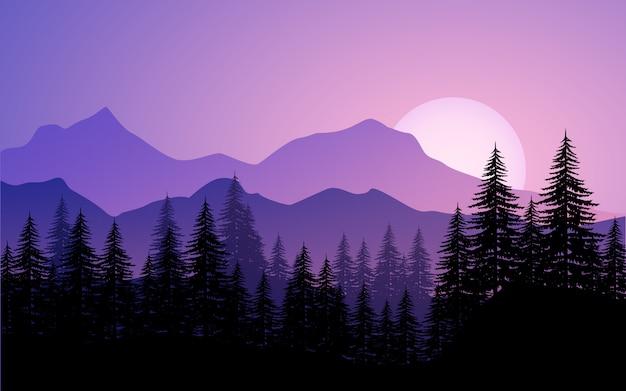 Paisagem montanhosa com floresta de pinheiros e nascer do sol