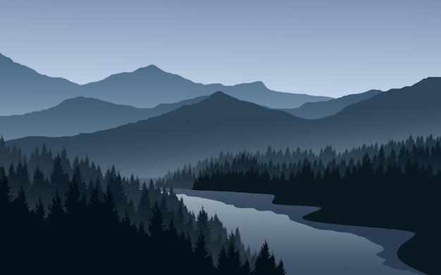 Paisagem montanhosa com floresta de pinheiros e rio