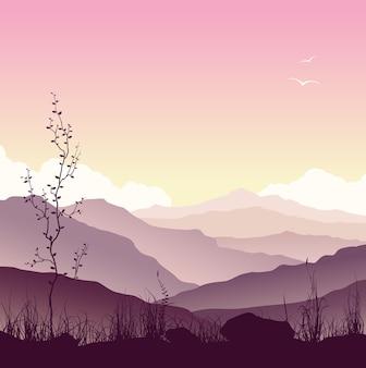 Paisagem montanhosa com grama e árvores. natureza selvagem ao pôr do sol. ilustração vetorial.
