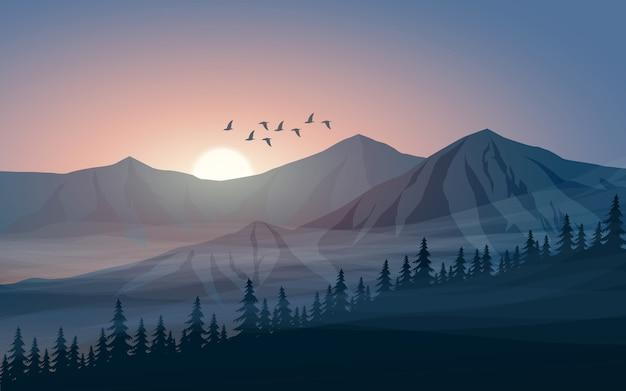 Paisagem montanhosa com neblina, nascer do sol e pássaros voando