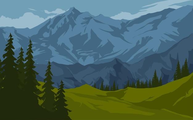 Paisagem montanhosa com pinheiros e prados