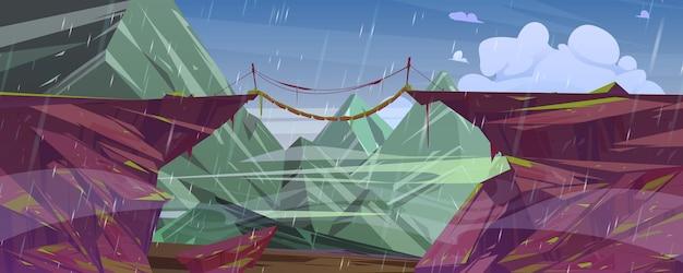 Paisagem montanhosa com ponte suspensa sobre precipício e chuva