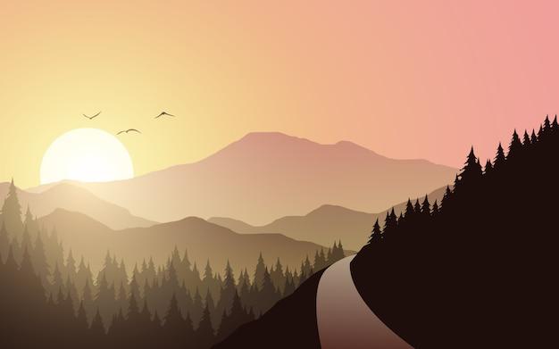 Paisagem montanhosa com pôr do sol e estrada