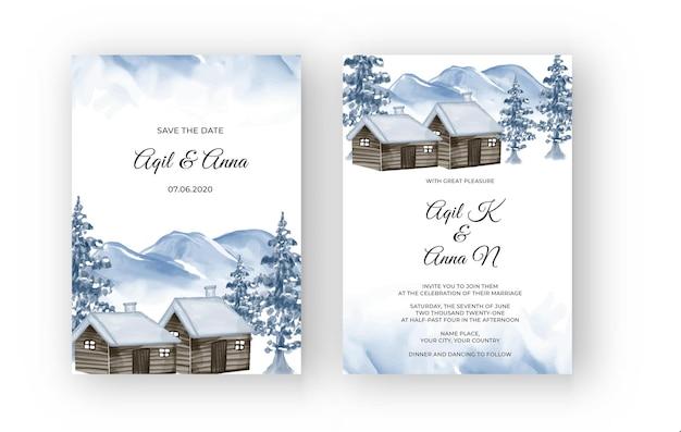 Paisagem montanhosa de inverno com convite de casamento em aquarela