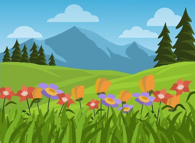 Paisagem montanhosa e campestre com flores coloridas