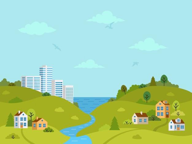 Paisagem montanhosa rural com casas e edifícios