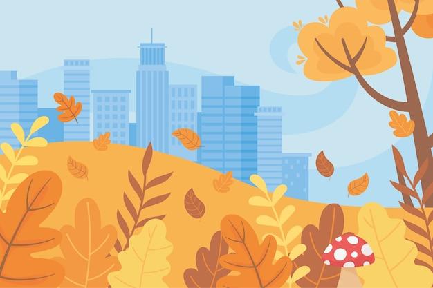 Paisagem na cena da natureza do outono, árvores de edifícios urbanos da cidade, folhas de grama e cogumelos