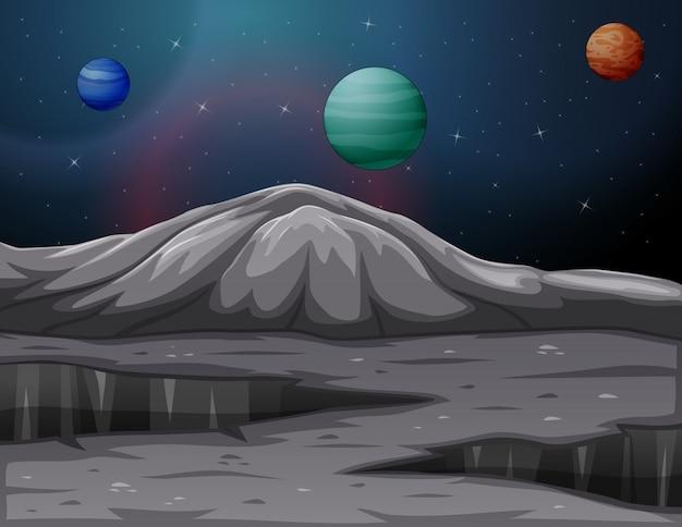 Paisagem nas montanhas de marte com outros planetas