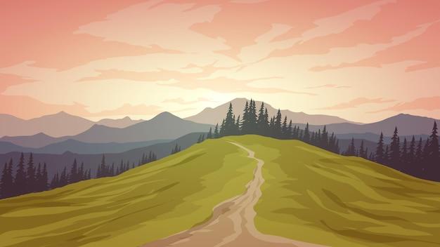 Paisagem natural com caminho de montanha e floresta