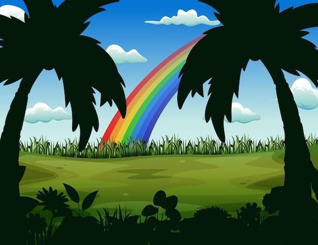 Paisagem natural com ilustração de arco-íris