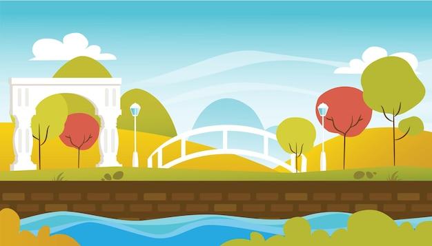 Paisagem natural com ilustração do parque e do céu azul