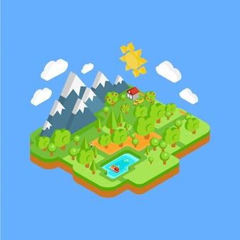 Paisagem natural com montanhas rio e floresta. conceito 3d plano isométrico.