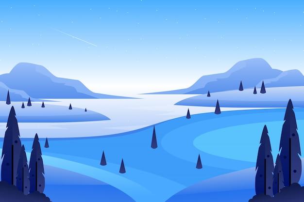 Paisagem natural com pinheiros e montanhas