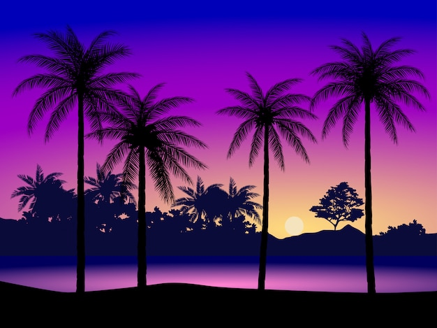 Paisagem natural com silhueta de coqueiros e céu colorido ao pôr do sol