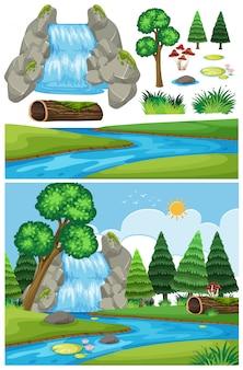 Paisagem natural da cachoeira com árvores