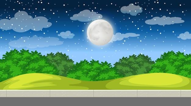 Paisagem natural da floresta à noite