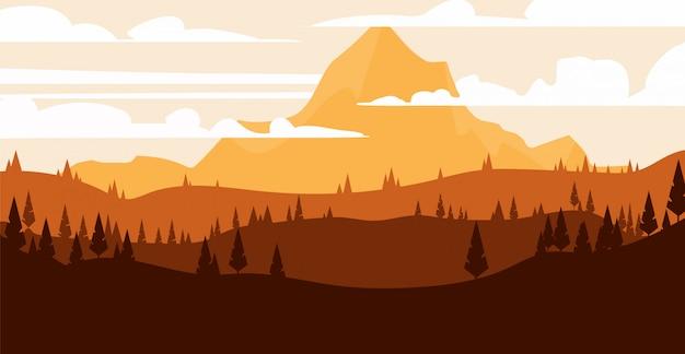 Paisagem natural da montanha em estilo cartoon. ilustração da paisagem plana.