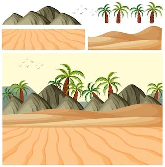 Paisagem natural de campo com areia e árvores