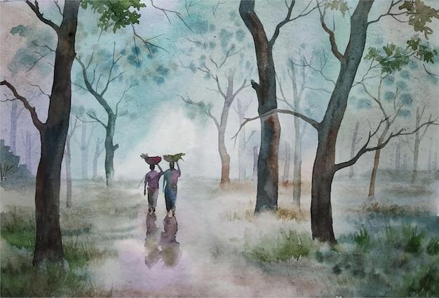 Paisagem natural desenhada à mão em aquarela com ilustração de uma árvore linda