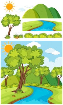 Paisagem natural do parque com árvores e rio