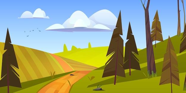 Paisagem natural dos desenhos animados, estrada de terra rural, campo