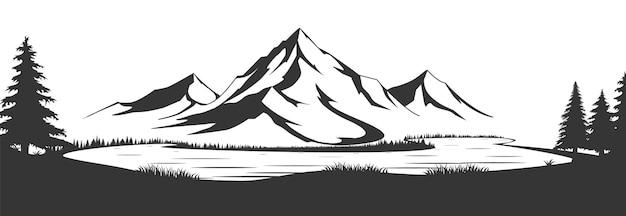 Paisagem natural selvagem com montanhas, lago, rochas. ilustração