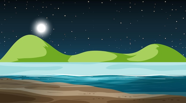 Paisagem natural vazia em cena noturna com montanha