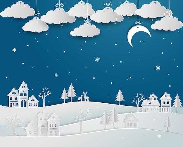 Paisagem natureza, com, campo, em, inverno, estação