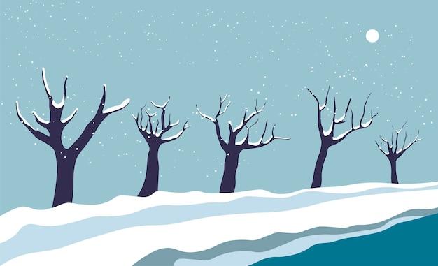 Paisagem nevada, rua com vetor de árvores