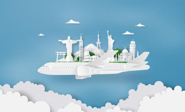 Paisagem no avião branco