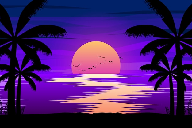 Paisagem noturna colorida com mar e palmeira silhuetas ilustração