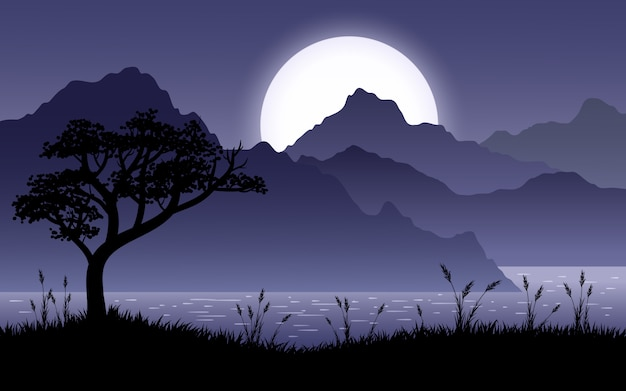 Paisagem noturna com colinas, lago e árvore silhueta