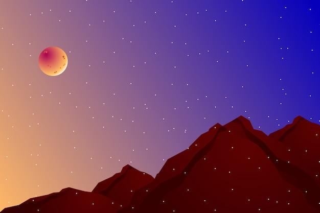 Paisagem noturna com encosta e ilustração do céu colorido