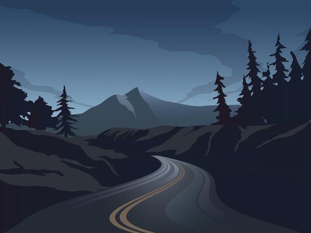 Paisagem noturna com estrada e montanha