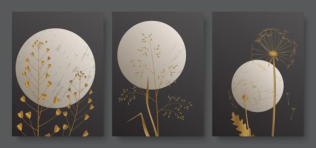 Paisagem noturna com lua cheia e grama dourada luxuosa folhagem de ouro mínimo