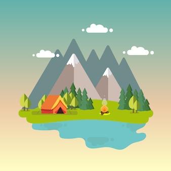Paisagem noturna com tenda, fogueira, montanhas, floresta e água