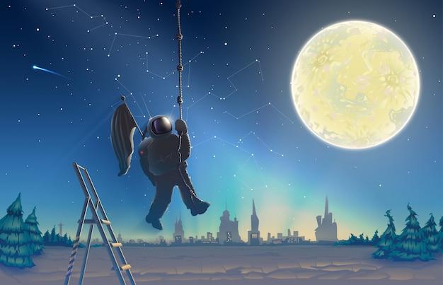 Paisagem noturna com um astronauta no contexto do céu estrelado e da floresta
