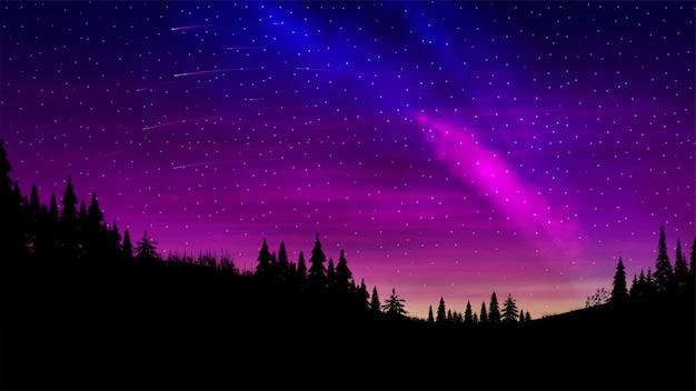 Paisagem noturna com um lindo céu multicolorido e um aglomerado de estrelas